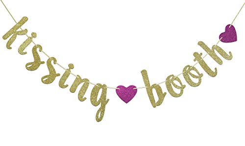 Kissing Booth Banner for Valentine's Day Party Decorations Wedding Sign Engagement Garland Photo Prop (Gold Glitter)]()