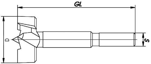 ENT M/èches forstner ex/écution premium forg/é Diam/ètre NL 60 mm D GL 90 mm 38 mm S 10 mm