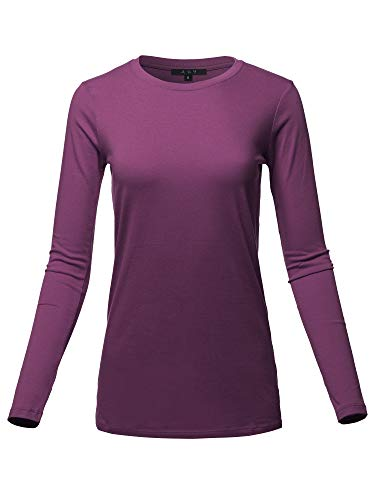 Basic Solid Soft Cotton Long Sleeve Crew Neck Top Shirts Dark Plum L