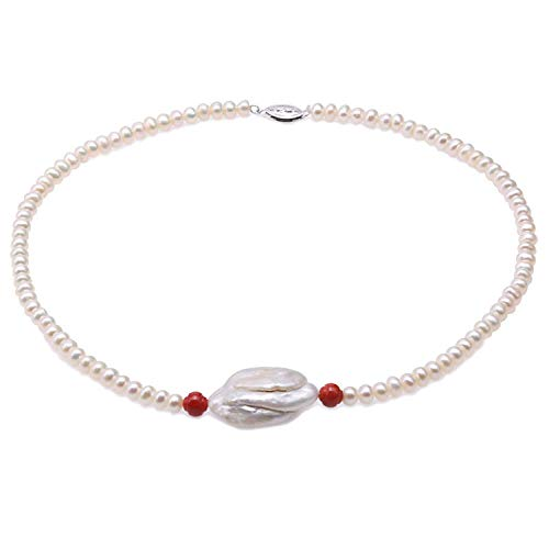 Elegant 5.5mm Flatly Round White Cultured Freshwater Pearl Necklace with Red Coral for Women,White Pearl,17.5inches Coral White Freshwater Pearls Necklace