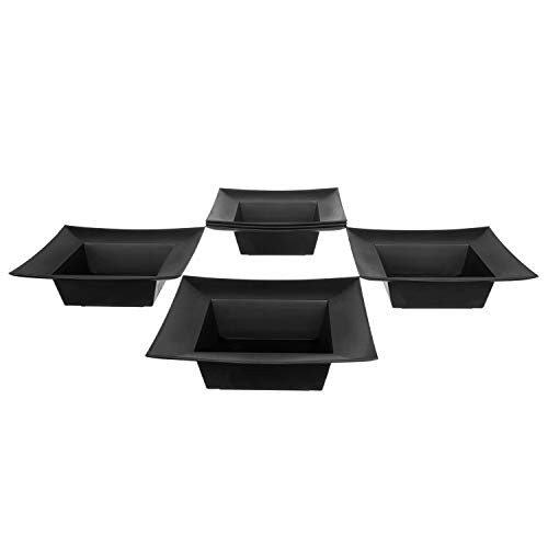 (Deep Square Plastic Planter Dish - Flower Container For Wedding, Party, Home and Holiday Decor, Black, 6 Pack)