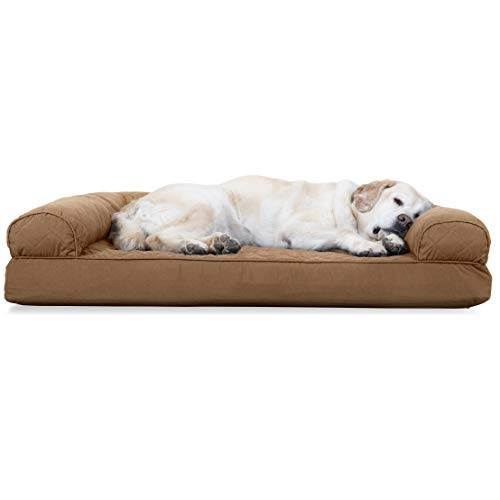 Furhaven Pet Dog Bed | Cooling Gel Memory Foam Quilted Traditional Sofa-Style Living Room Couch Pet...