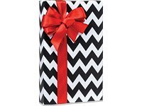 Black Chevron Stripe Gift Wrap 16 Foot Roll Wrapping Paper