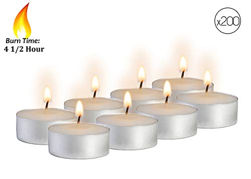 Ner Mitzvah Tea Light Candles - 200 Bulk Pack - White Unscented Travel, Centerpiece, Decorative Candle - 4.5 Hour Burn Time - Pressed Wax by Ner Mitzvah