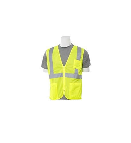 Safety Poly Vest Mesh - ERB Safety 61655 7X Hi Viz Lime Economy Poly Mesh Safety Vest, 3