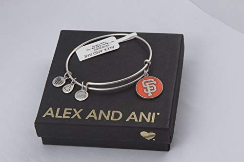 (Alex and Ani San Francisco Giants Cap Logo Orange Expandable Rafaelian Silver Bangle Bracelet)