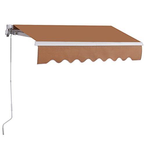 Goplus® Manual Retractable Awning Patio Canopy Deck Sunshade Shelter  (13.1u0027X9.8u0027, Beige)
