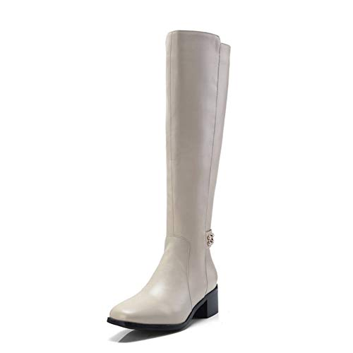 Pug Genuine Boots - Fashion Women Boots Genuine Leather Square Toe Knee High Zipper Rivet Casual Booties Ladies Shoes Beige
