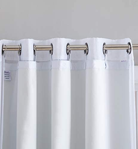 HLC.ME White Thermal Insulated 100 Blackout Curtain Liner 95 -96 inch Grommet Panel – Complete Darkness Privacy, Energy Efficient, Noise Reducing – 8 Rings Included 2 Panel, 50 W x 92 inch