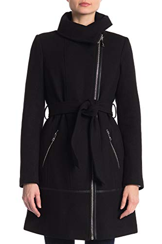 (GUESS Women's Medium Belted Shawl Collar Coat Wool Blend Blacks)