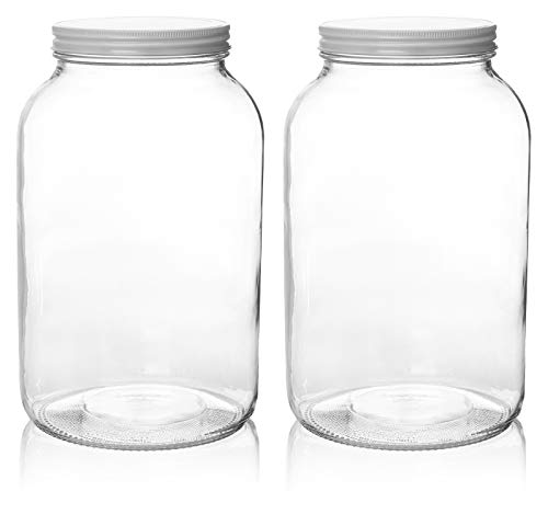 2 Pack - 1 Gallon Glass Mason Jar Wide Mouth with Airtight Metal Lid - Safe for Fermenting Kombucha Kefir - Pickling, Storing and Canning- USDA Approved BPA-Free Dishwasher Safe- - 1gallon Ball Mason Jar