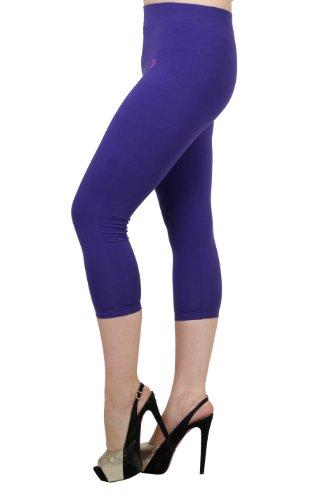 Twin Birds Cotton Jersey Knit Women's Capri Leggings Pants (Tropical Punch, Medium) ()
