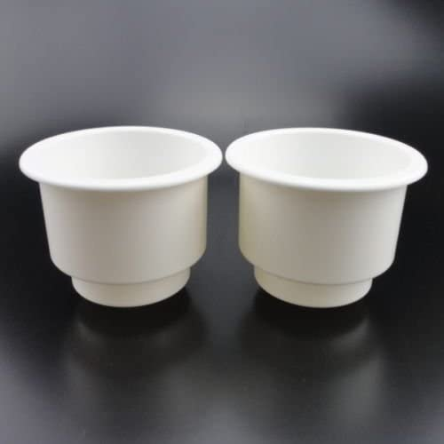 2 X WHITE BOAT//RV RECESSED TWIN SIZE WINE BOTTLE//CUP//DRINK HOLDERS WITH DRAIN
