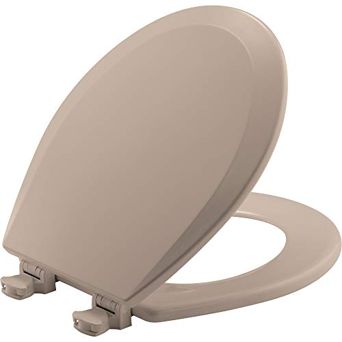 BEMIS 500EC 068 Toilet Seat with Easy Clean & Change Hinge, ROUND, Durable Enameled Wood, Fawn Beige