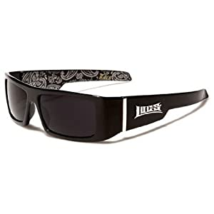 Locs Mens Hardcore Gafas De Sol Fashion Wrap Around Sunglasses with Bandana Print Inside - Free Microfiber Bag - Several Colors Available! (Black - Black Inside)