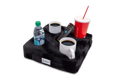 Beverage Holder - Cup Cozy Deluxe Pillow (Black)- As Seen on TV-The world's BEST cup holder! Keep your drinks close and prevent spills. Use it anywhere-Couch, floor, bed, man cave, car, RV, park, beach and more!