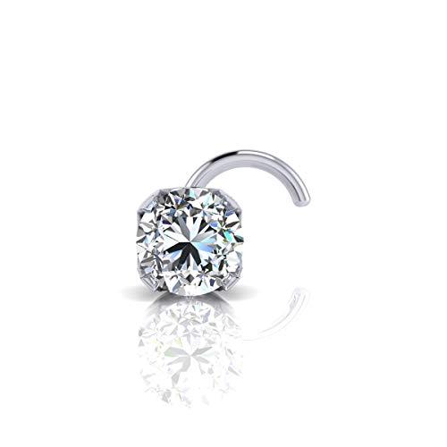 (2mm 0.03 Carat Diamond Stud Nose Ring In 14K White Gold)