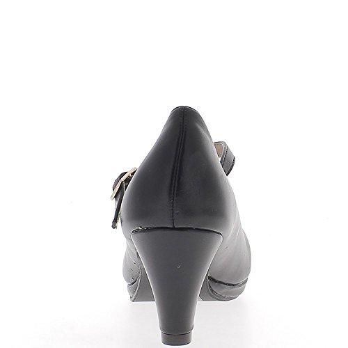 Escarpins à bride noirs petits talons de 6,5cm et petite plateforme