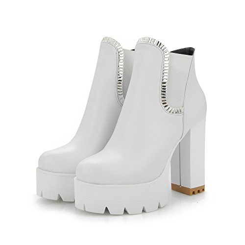 Glass Toe Pu Heels Closed Women's Boots With On Odomolor High White Pull Solid Round Diamond qwfppzE7x