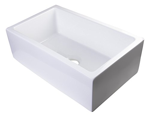 Bowl Fireclay Single (ALFI brand AB3018SB-W Smooth Solid Thick Wall Fireclay Single Bowl Farm Sink, 30