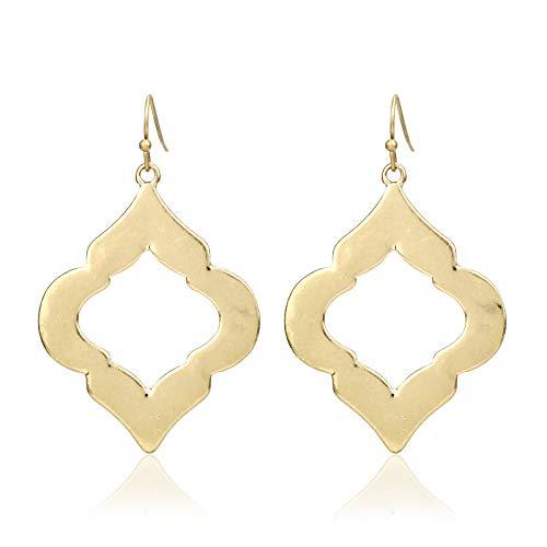 Pomina Lightweight Moroccan Style Dangling Drop Earrings (Worn Gold)