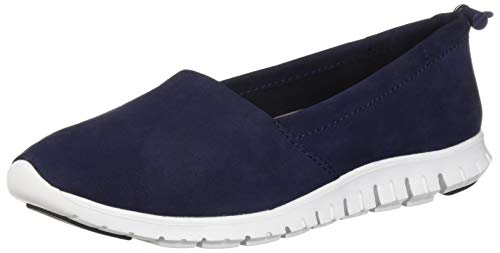 Cole Haan Women's Zerogrand Aline Loafer Flat, Marine Blue Nubuck/Optic White