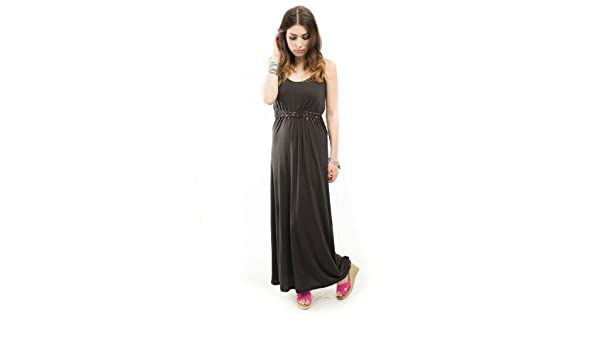 Obey Bristol Licorice Braided Waist Low Back Scoop Juniors Maxi Dress at Amazon Womens Clothing store: