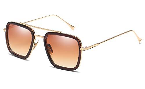 Eyerno Vintage Aviator Sunglasses For Men Women Retro Square Designer Shades(Brown) (Herren Square Aviator Sonnenbrillen)