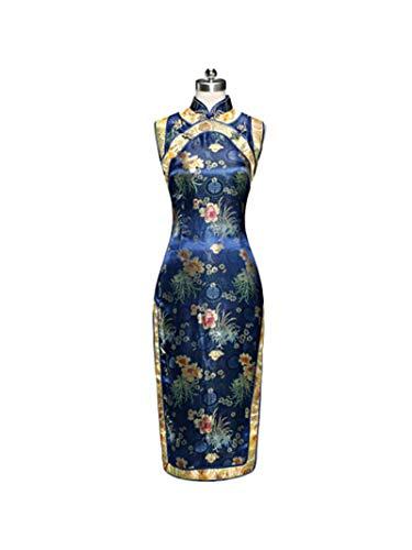 GoodOrient Brocade Chrysanthemum Print Chinese Dress Cheongsam (XS, Blue)