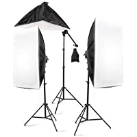StudioFX 2400 Watt Large Photography Softbox Continuous Photo Lighting Kit 28 x 20 + Boom Arm Hairlight with Sandbag by Kaezi