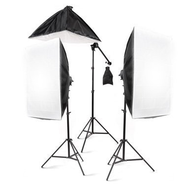 StudioFX 2400 Watt Large Photography Softbox Continuous Photo Lighting Kit 28'' x 20'' + Boom Arm Hairlight with Sandbag by Kaezi by StudioFX