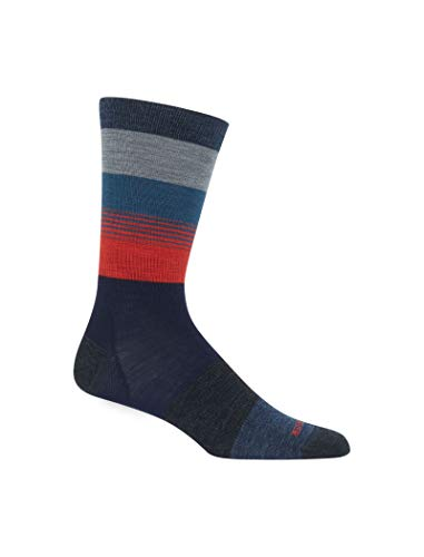 (Icebreaker Merino Men's Lifestyle Ultralight Crew Gradient Stripe Athletic Socks, X-Large, Fathom Heather/Prussian Blue/Chili Red)