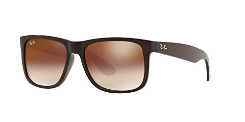 Ray-Ban Nylon Men Non-Polarized Iridium Rectangular Sunglasses, Brown, 53 - Ray Justin Amazon Ban