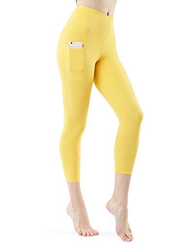 TSLA Yoga Pants 21 inches Capri High-Waist Tummy Control w Pocket, Pocket Aerisoft(fyc64) - Yellow, Small (Size 6-8_Hip37-39 Inch)
