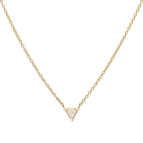 Diamond trillion necklace, 14k gold, 0.15ct. trillion
