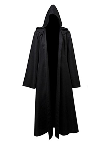 [Gameyly Men's Halloween Cosplay Hooded Robe Cloak L Black] (Adult Knight To Remember Costumes)