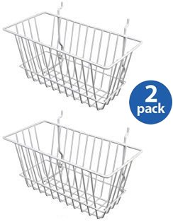 White Wire Baskets for Slatwall, Gridwall and Pegboard 12 x 6 x 6 (Set of 2)