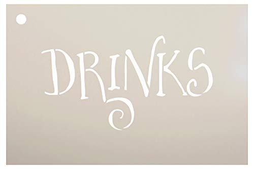Wedding Sign Word - Drinks - Fancy Funky Stencil by StudioR12 | Reusable Mylar Template | Use to Paint Wood Signs - Pallets - Pillows - DIY Wedding Decor - Select Size (9