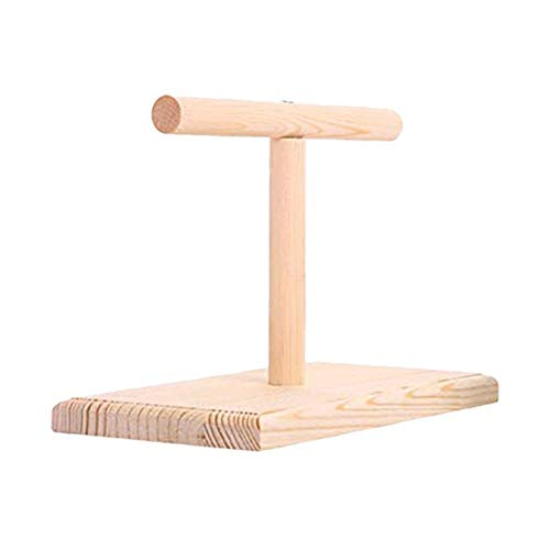 foreverwen Bird Cage Stand Parrot Perch Training Stands Playstand Playgound Play Gym for Concures Parakeets Lovebirds Cockatiels,Office Wooden Stand Bird Bite Toy Springboard ()