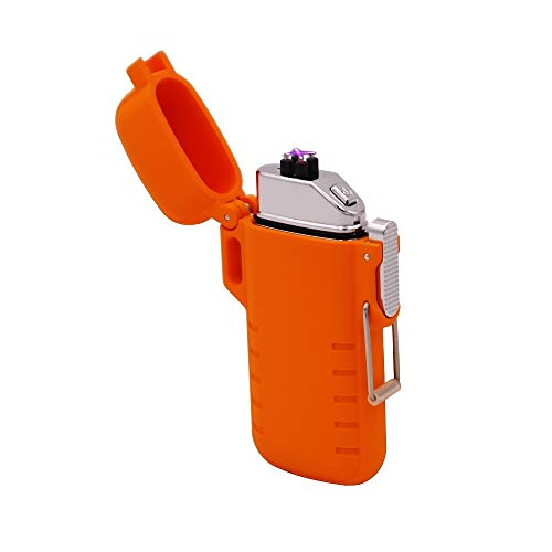Waterproof Dual Arc Lighter Windproof USB Rechargeable Plasma Lighter Slim Design (Orange) ()