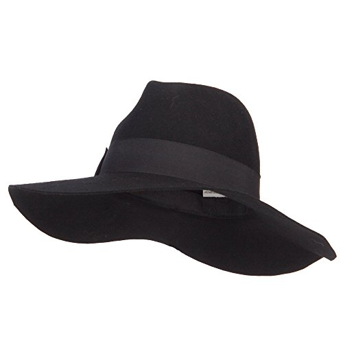 Dressy Wool Felt Hat (SS/Hat Wool Felt Fedora Hat With Gross Grain Ribbon Band - Black OSFM)