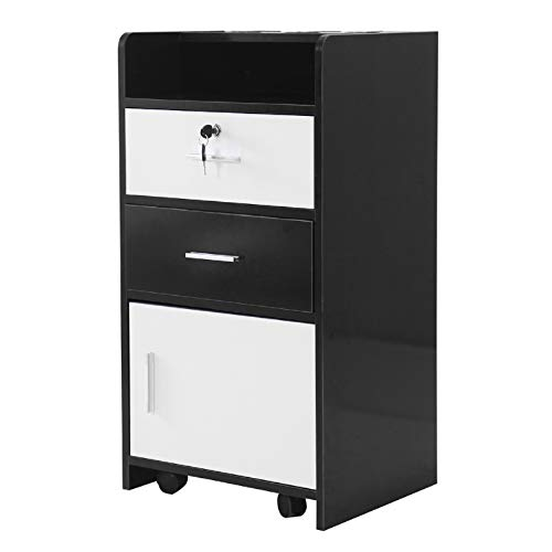 Salon Cabinet Trolley Barberpub Locking Rolling Beauty Salon Trolley Cart Hair Dryer Holder Stylist Equipment Drawer Rolling Wheel&Lock,Spa 3-layer Storage Shelf with 3 Dryer Holes (Black&White)