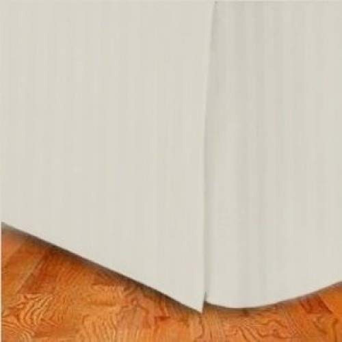 Wrinkle-Free Stripe Ivory QUEEN Size Pleated Tailored Bed Skirt with 36cm Drop- 95 gsm, 100% Microfiber. B007C907A0