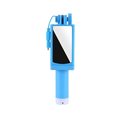 HDWY Portable Mini Self-portrait Stainless Steel Rear View Mirror Apple Android Universal Mobile Photo Camera Stick, Travel, Street Shoot, Outdoor Activities (Black, Green, Blue, Pink) (Color : Blue) by HDWY