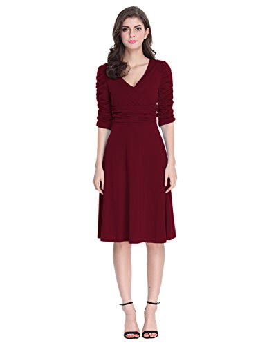 Ponte Dress (Sue&Joe Women's 3/4 Sleeve Dress Ruched Waist Classy V-Neck Casual Cocktail Dress, Burgundy, Tagsize3XL=USsize16-18)