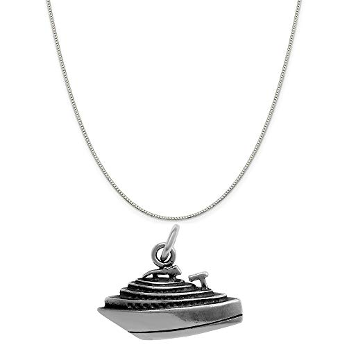 Raposa Elegance Sterling Silver 3D Cruise Ship Charm on a Sterling Silver 20