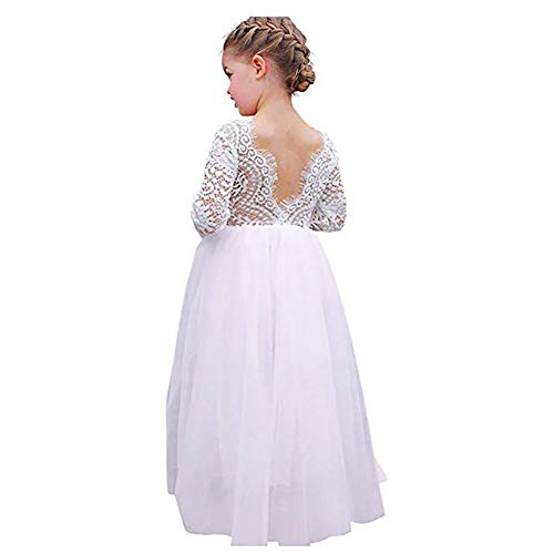- Flower Girls Lace V Back Straight Tutu Tulle Maxi Dress Party Girls Pageant Dresses Long Sleeve with Pearl Headband White