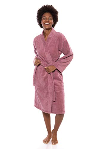 Texere Women's Knee Length Terry Robe (Megeve, Dusty Lilac, 2X/3X) Soft Robe (Organic Terry Robe)