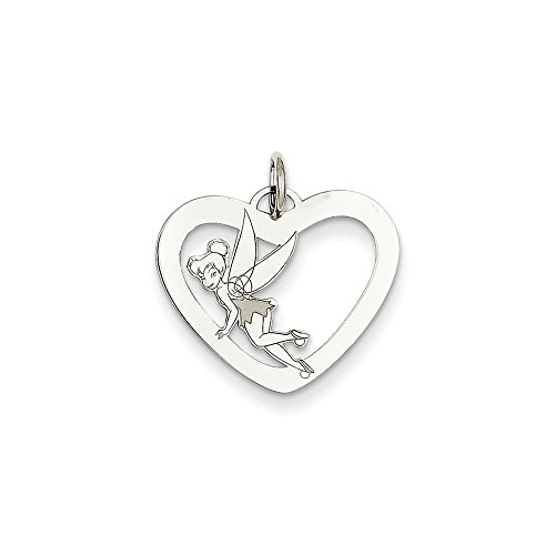 Roy Rose Jewelry Sterling Silver Tinker Bell Heart Charm Necklace Complete with Chain Trademark and Licensed