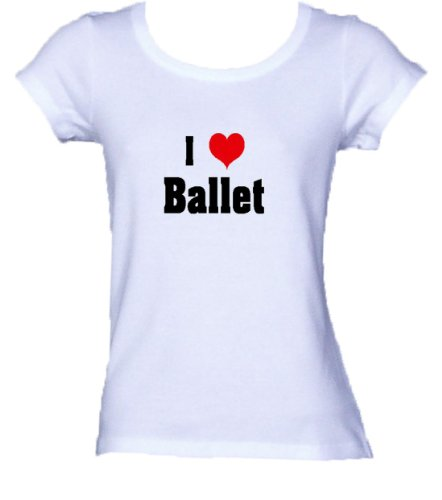 I Love/Heart Ballet Ladies/Juniors FITTED Scoop-Neck T-Shirt WHITE (Heart Love Ladies Fitted Tee)